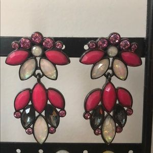 Pair of pink, grey and white dangle earrings